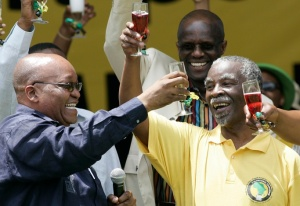Zuma and Mbeki celebrate after Mandela