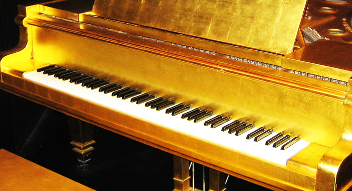 having a piano would be a great feeling to have, having a gold piano will add tons of extra worries on our shoulders. Be grateful for what you have.