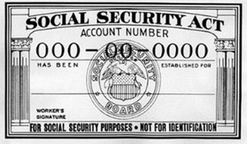 "An old Social Security card with the ""NOT FOR IDENTIFICATION"" message. Our Social Security"