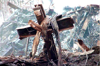 Image result for 9/11 cross in rubble