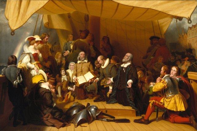William Bradford is depicted at center, kneeling in the background, symbolically behind Gov. John Carver (holding hat) whom Bradford would succeed.