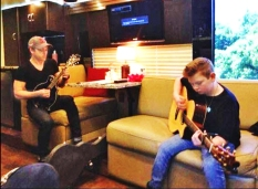 Rehearsing for the show, Hunter and Landon