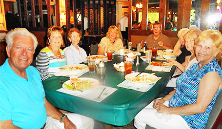 Birthday dinner with brother John & cousins: left to right - cousin Larry Strobel, wife Marilyn, neighbor Alberta, Me, brother John, wife Susan, cousin Shirley and Mary Huggins.