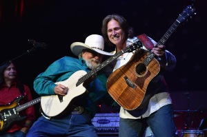 NASHVILLE, TN - AUGUST 12: Charlie Daniels and Billy Dean perform at the Charlie Daniels 2015 Volunteer Jam at Bridgestone Arena on August 12, 2015 in Nashville, Tennessee. (Photo by John Shearer/Getty Images for Webster Public Relations)