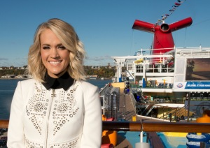 Country music performer  Carrie Underwood  poses aboard the Carnival Vista in New York City. The 1,062-foot-long Carnival Vista is scheduled to sail on 11-day voyages from New York before launching year-round six- and eight-day Caribbean service from Miami beginning Nov. 27. Underwood is perform at a free concert aboard Vista for military families as part of Carnival Cruise Lines' partnership with Operation Homefront. FOR EDITORIAL USE ONLY (Andy Newman/Carnival Cruise Line/HO)
